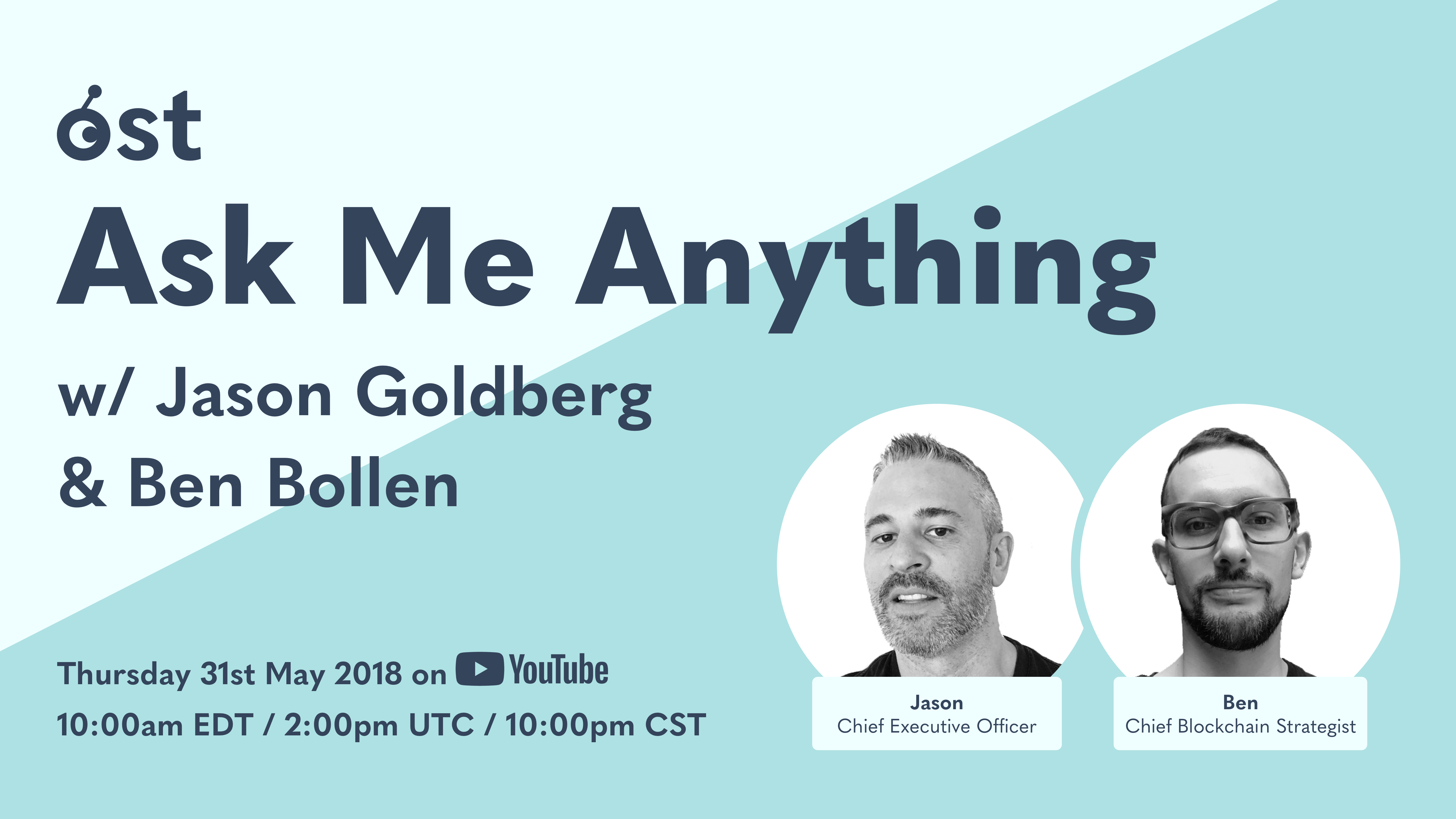 Save the Date: AMA with Jason Goldberg and Benjamin Bollen on 31 May 2018!