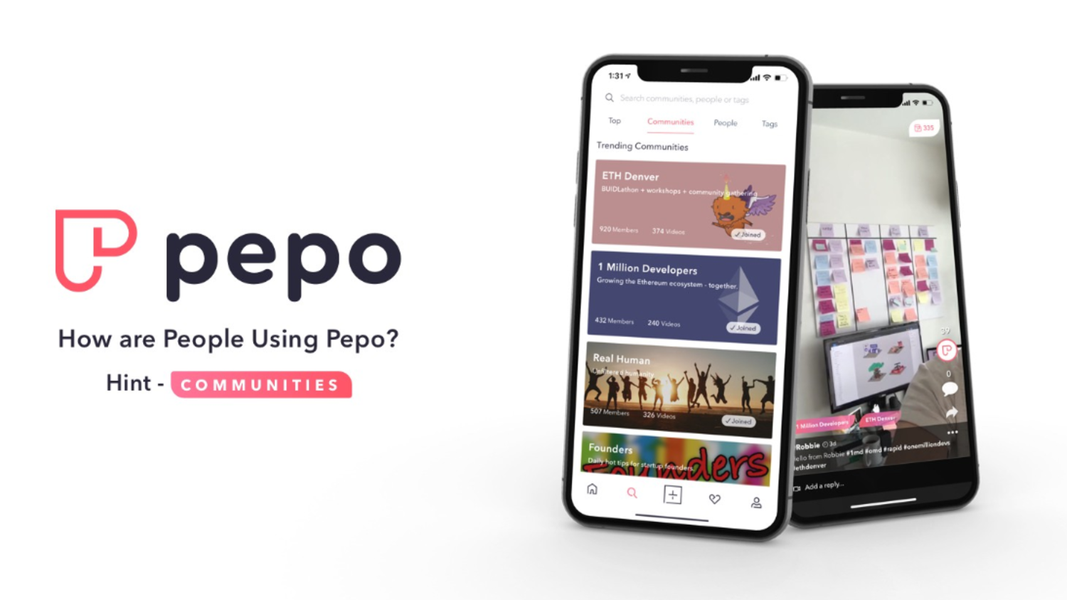 How are People Using Pepo? Hint: Communities